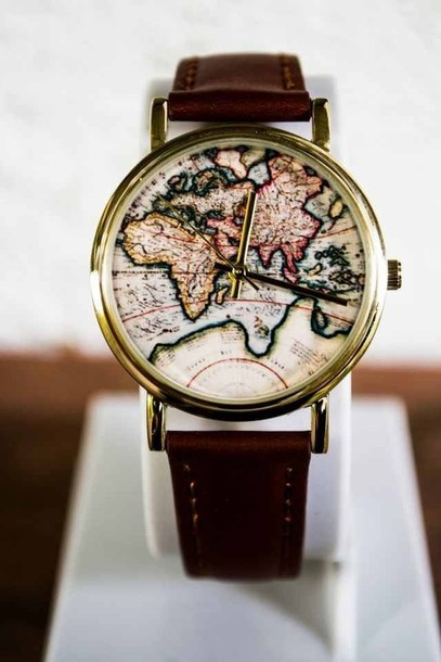 Jewels Watch Clock Map Print Map Watch Leather