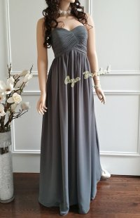 Long bridesmaid dress, strapless evening party dress ...