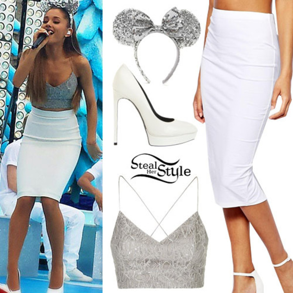 best sofas on the high street sofa remote control holder ariana grande: silver bralet, white pencil skirt | steal ...