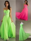 Pink and Lime Green Prom Dress