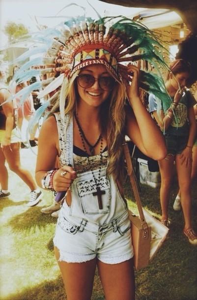 Shorts Denim Overalls Coachella Tumblr Bralette