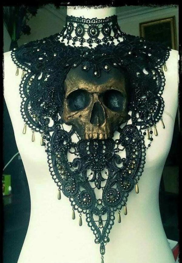 Jewels Black Skull Goth Tumblr Lace Choker Necklace