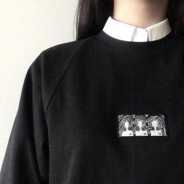 Shirt Black Sweater Sweater Grunge Grunge Top Soft