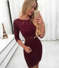 Dress: burgundy, red, body tight, tight, fit, tight ...