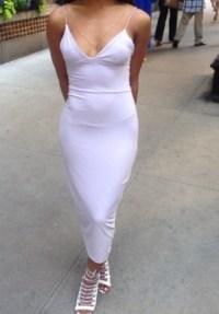 Shoes: dress, white dress, strappy dress, calf length ...