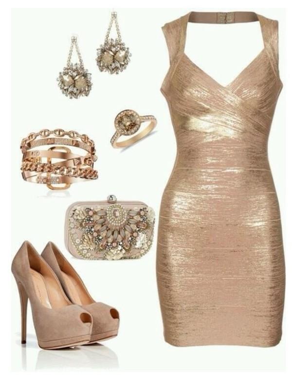 Bronze Gold Foil Knee Length Bandage Dress