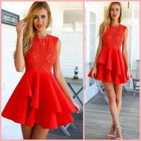 Dress: red, red dress, christmas dress, lace, skater dress ...