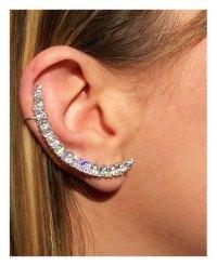 Arced Ear Post Earrings - Cartilage Earring - Diamond Ear ...