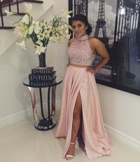 Custom Made Pink Sequin 2 Piece Long Prom Dress, Evening ...