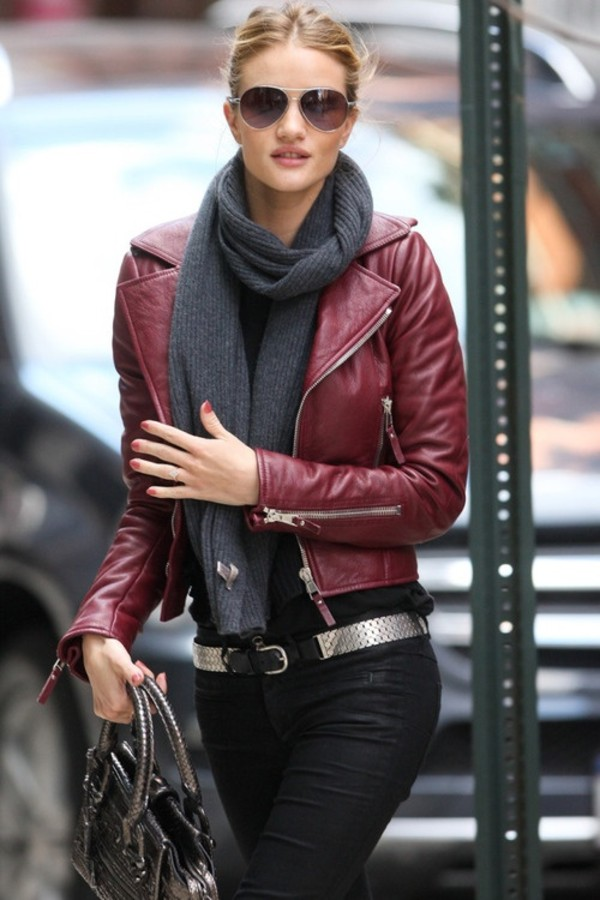 DIESEL Burgundy Marlene Leather Jacket TheFashionMRKT