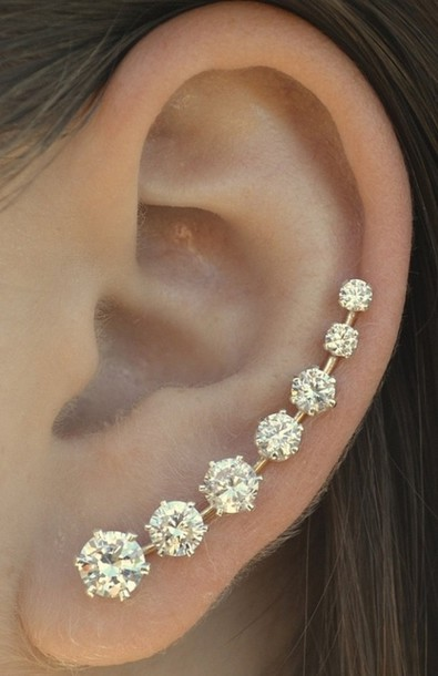 Jewels: earrings, white, diamonds, ear cuff, stud earrings