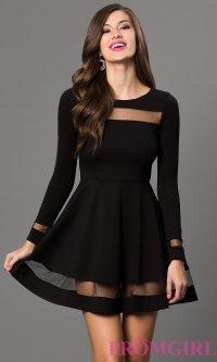 Long Sleeve Short Black Dress with Sheer Detailing