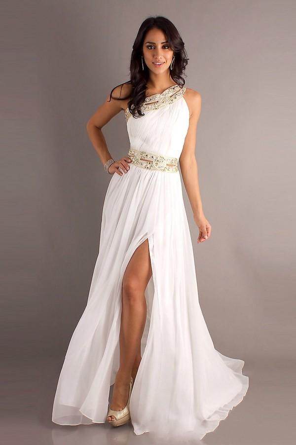 Dress prom dress white dress gold greek goddess one