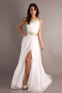 Dress: prom dress, white dress, gold, greek goddess, one ...
