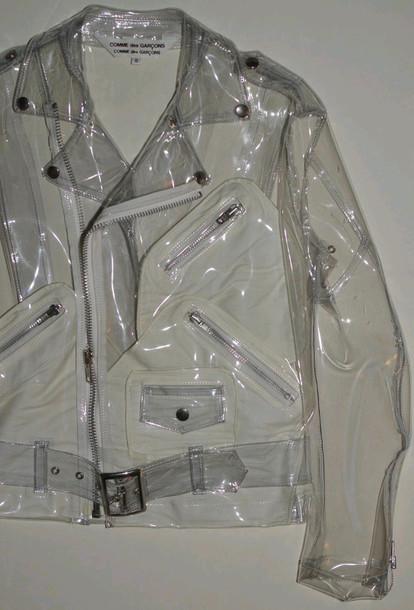 Jacket belt see through plastic perfecto zip 90s