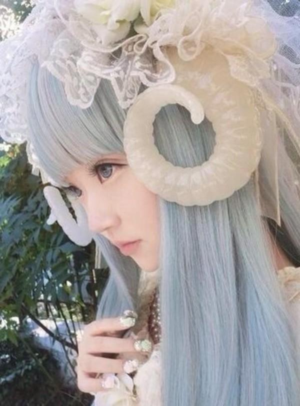 Hat horn japanese kawaii cosplay pastel hair hair