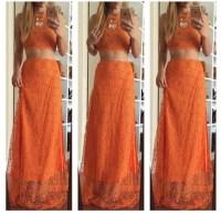 dress, orange, two-piece, maxi dress, two-piece, lace ...