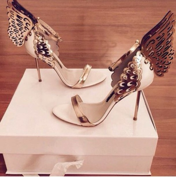 Shoes high heels butterflies butterfly gold pink shoes