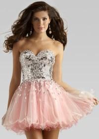 Clarisse 2391 - Strapless Beaded Short Prom Dress ...