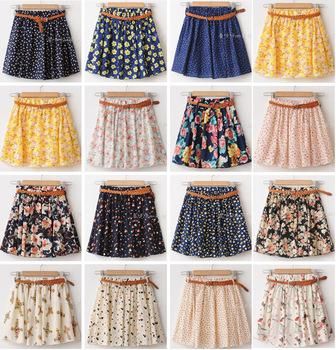 New 2014 Women Summer Skirt Casual Cute Above Knee Mini Short Chiffon Skirts Woman Interlining Navy