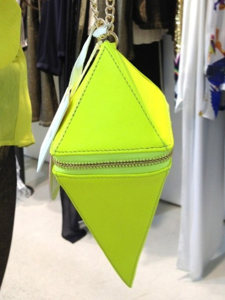 lime green chairs stair chair lift prices bag: neon, neon yellow, gold, chain, zip, triangle, pyramid, purse, crossbody bag, small, ...