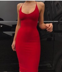 dress, red dress, skin tight, midi dress, red, bodycon ...