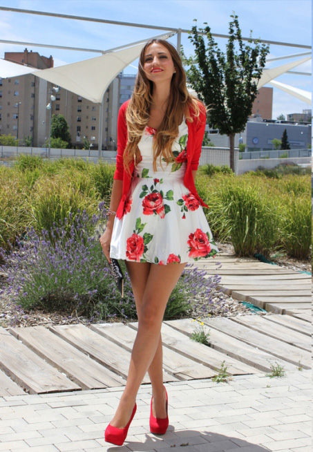 Red Rose Print Skater Dress Retro Indie And Unique Fashion