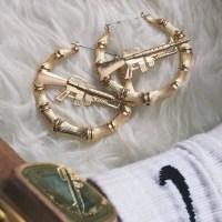 Jewels: earrings, gun, gangsta, ghetto, hoop earrings ...