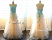 Sweetheart Girl | A-line Blue Lace Long Prom Dress, Blue ...
