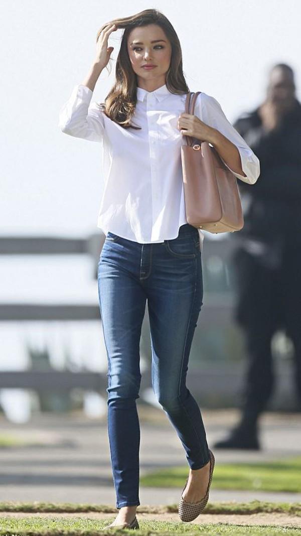 Jeans Blouse Miranda Kerr Flats Wheretoget