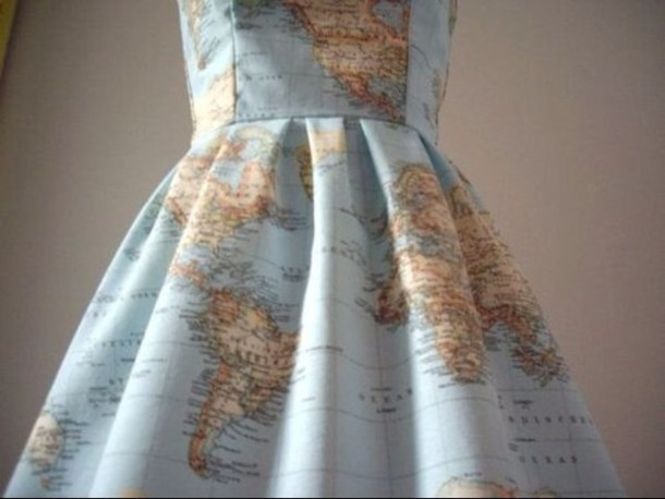 Cute Earphones Wallpaper Dress Vintage Blue Dress World Map Tumblr Globe