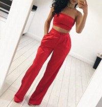 Pants: two piece outfit tropical set, two-piece, red ...