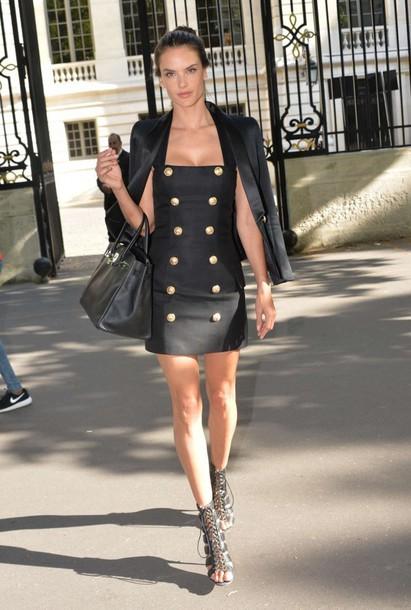 Dress Alessandra Ambrosio Mini Dress Sandals Blazer