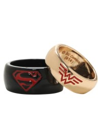 DC Comics Superman & Wonder Woman His & Hers Small Ring