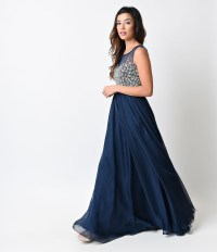 Navy Blue Crystal Beaded Sleeveless Chiffon Long Dress ...