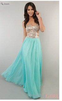 Dress: turquoise, white, long prom dress, prom dress, prom ...