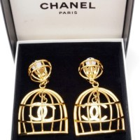 jewels, chanel birdcage earrings, jewelry - Wheretoget