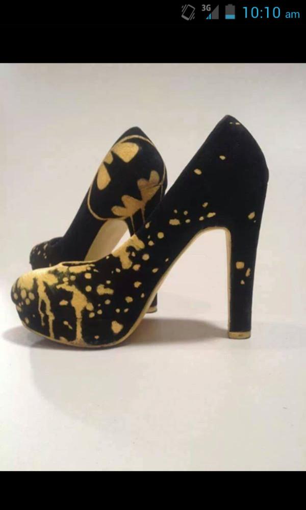 Shoes batman high heels cute high heels yellow and