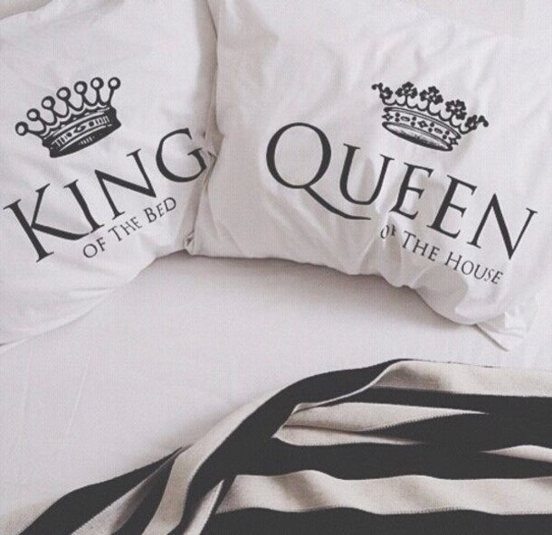King Queen Bettwäsche Home Accessory, Bedroom, Pillow, White, Black And White ...