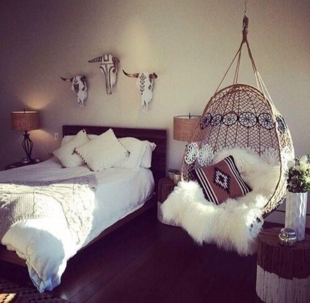 white bohemian hanging chair table and chairs for toddler boho decor tribal pattern wall bedroom rug sheepskin bedding home rustic driftwood little