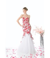 red and white floral prom dress