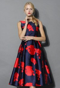 Rose Impression Prom Dress in Navy - Retro, Indie and ...