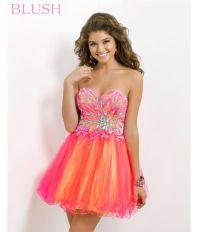 Dress: cute prom dress, prom dress, coral dress, puffy