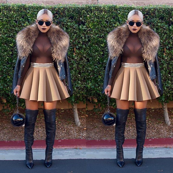 Skirt Sunglasses Faux Fur Jacket Sheer Sheer Bodysuit