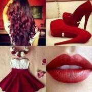 dress red white heels