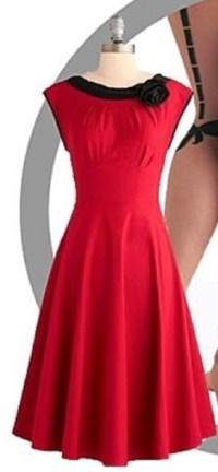 Dress: red dress, mid calf length, fitted waist, black ...