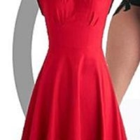 dress red dress mid calf length fitted waist black ribbed ...