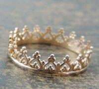 Gold Crown Ring, Princess Crown Ring, Yellow Gold Ring ...