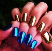nail polish gold blue nails