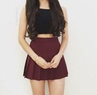 Top: black, crop tops, summer, skirt, burgundy, pleated ...